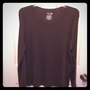 New Time & Tru brown XXL long sleeve pullover tee